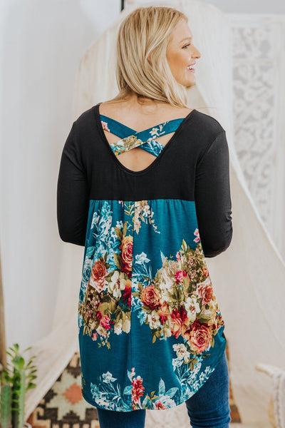 Dare To Be Floral Back Bodice Criss Cross High Low Long Sleeve Top in Teal - Filly Flair