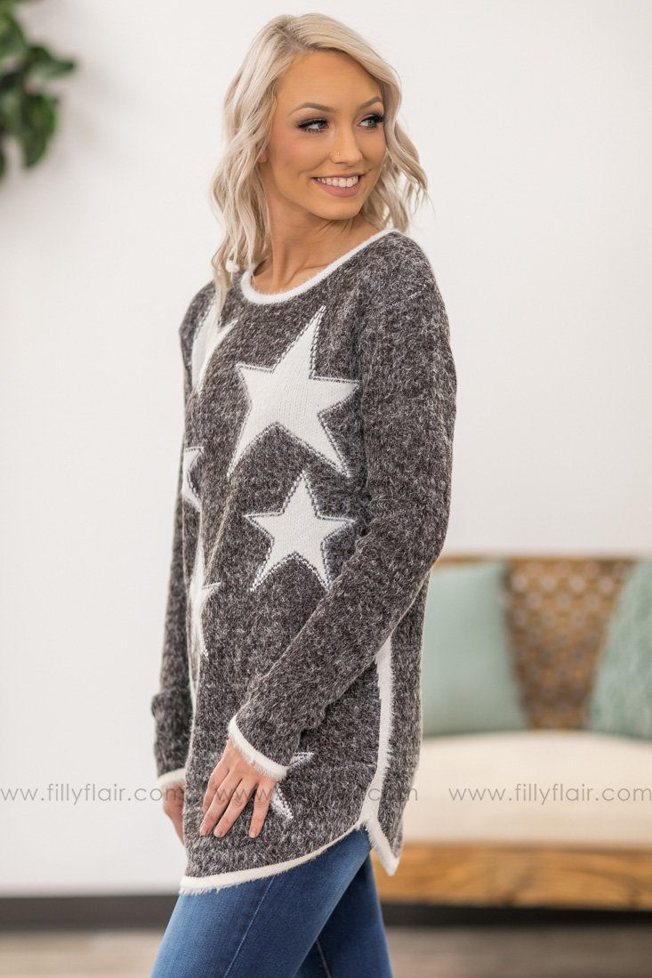 A Star Is Born Long Sleeve White Star Mohair Sweater in Brown - Filly Flair