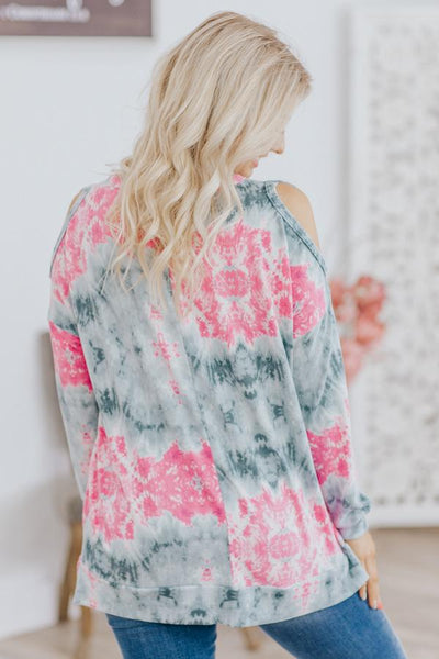 Hey Baby It's You Open Shoulder Long Sleeve Top in Pink - Filly Flair