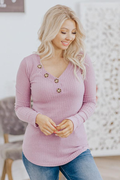 Depth Of Forgiveness Ribbed Button Detail Long Sleeve Top in Lavender - Filly Flair