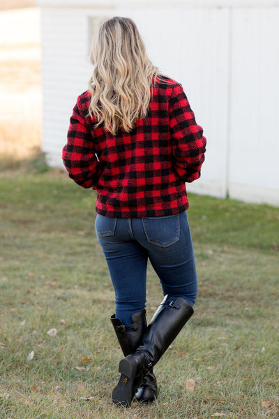 Corn Maze Days Plaid Jacket in Red and Black - Filly Flair