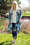More of What You Love Printed Kimono in Blue Charcoal - Filly Flair