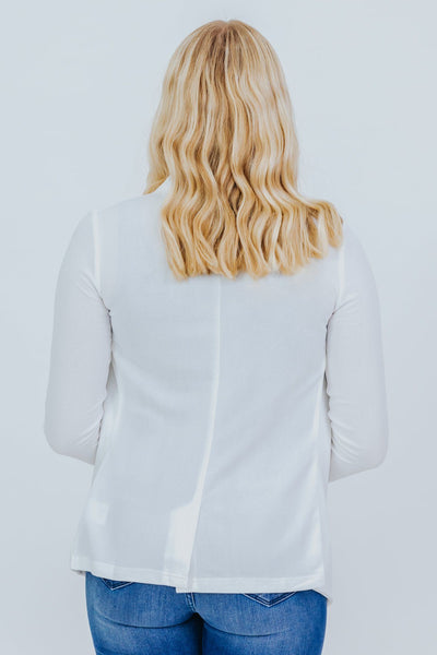 Come With Me Open Front Long Sleeve Blazer in White - Filly Flair