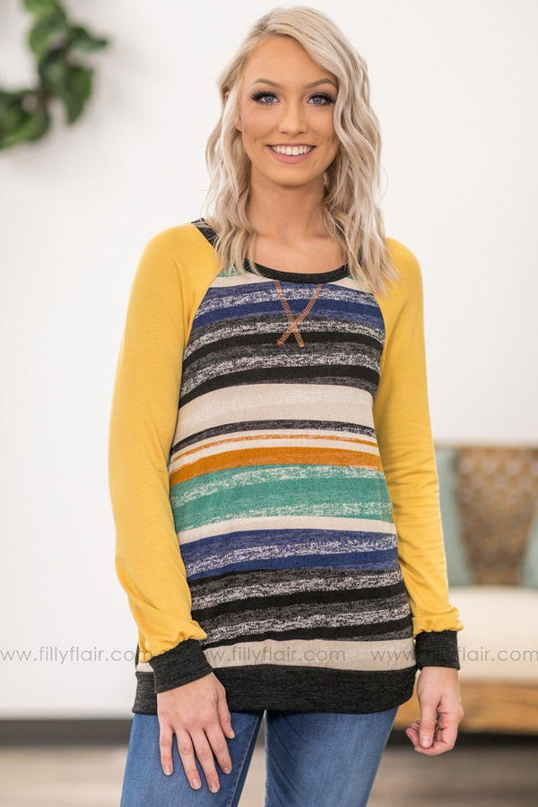 Easy Street Long Sleeve Multi Color Striped Top in Yellow - Filly Flair