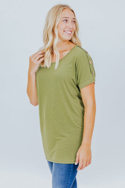 Fashionably Late Tunic in Light Olive - Filly Flair
