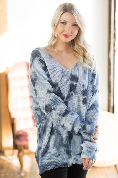 Lake Shore Drive Bleach Wash Sweater in Denim Blue - Filly Flair