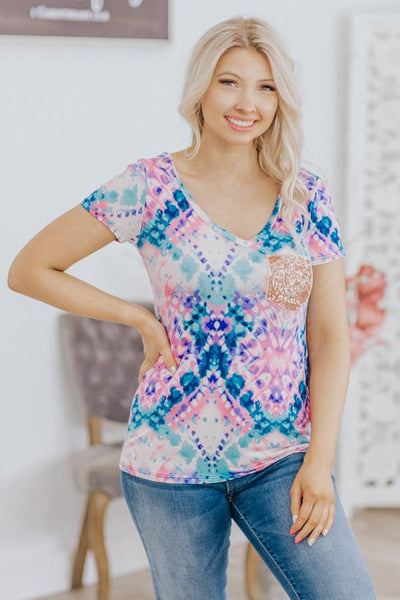 Just Little Bit Tie Dye Print V Neck Sequin Pocket Tee in Pink Blue - Filly Flair