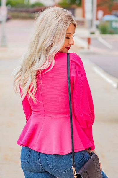 Little Bit Of Love Puff Long Sleeve Ruffle Waist Blouse in Magenta - Filly Flair