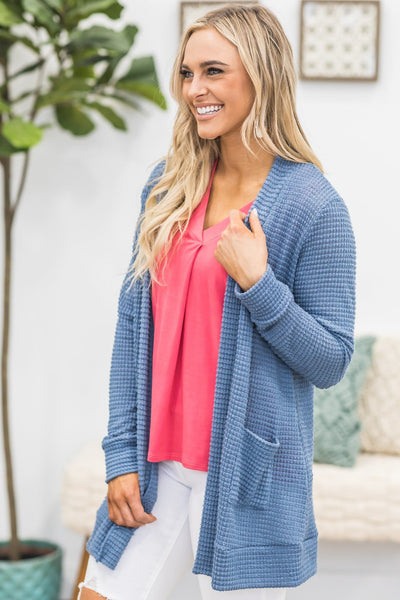Just One Chance Knit Cardigan in Dusty Blue - Filly Flair