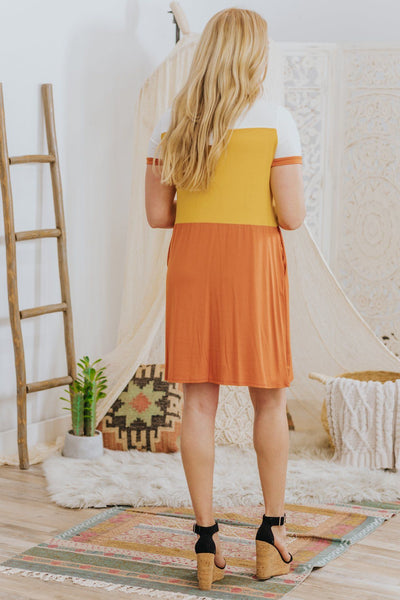 *DEAL* When The Sun Shines Color Block Pockets Dress in Mustard Burnt Orange - Filly Flair