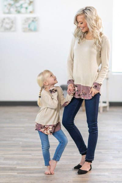 Just A Minute Long Sleeve Waffle Floral Top in Oatmeal - Filly Flair