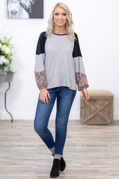Walk In The Park Color Block Bishop Sleeve Waffle Top in Grey - Filly Flair