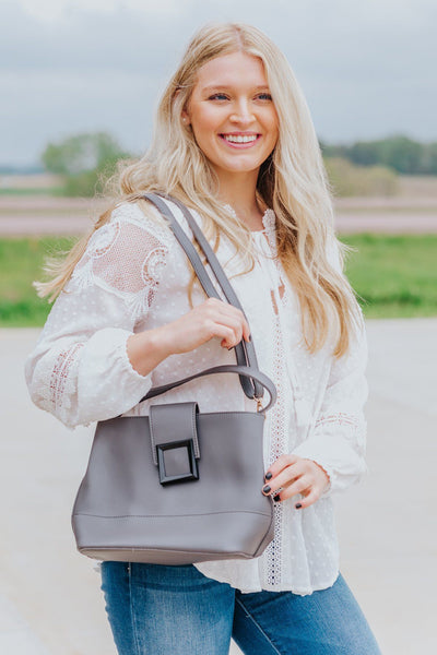 My Darling Crossbody Buckle Purse in Grey - Filly Flair