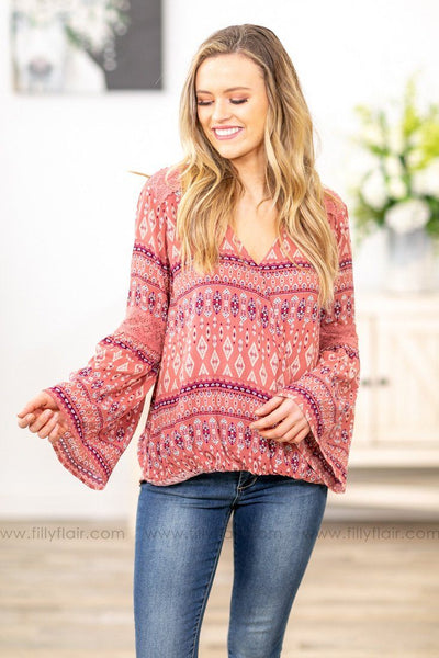 You Make Me Beautiful Long Bell Sleeve Printed Top in Mauve - Filly Flair