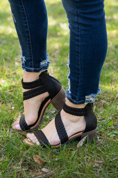 Take It Down Braided Haidee Black Burnish Heels - Filly Flair