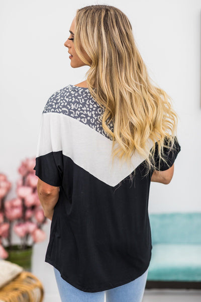 Yes Please Chevron Top in Black - Filly Flair