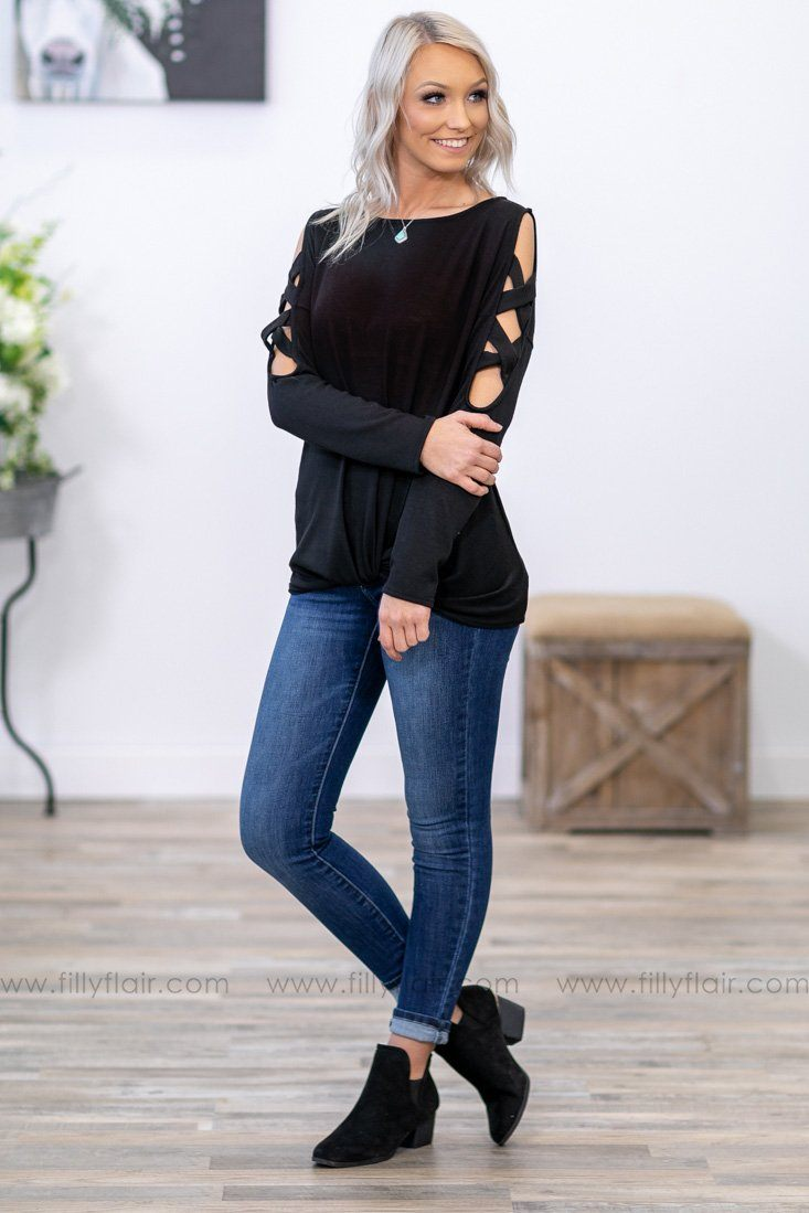 Filly Flair: Criss Cross Charm Long Sleeve Knotted Top in Black - Filly Flair