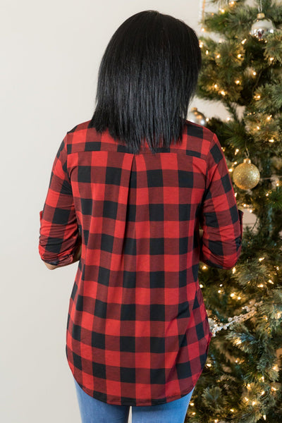 My New Favorite Plaid V-Neck 3/4 Sleeve Top in Red - Filly Flair