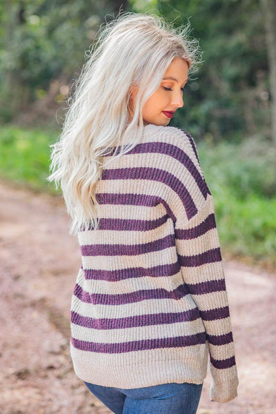 Dirty Road Cruise Striped Long Sleeve Sweater in Oatmeal - Filly Flair