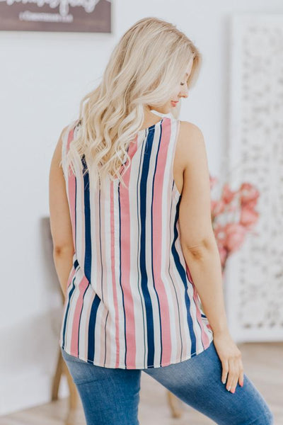 Your The Source Striped Front Pocket Sleeveless Tank Top in Pink Navy - Filly Flair