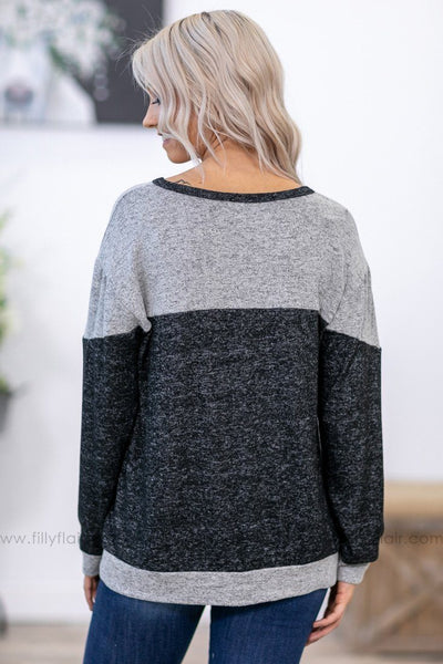 Lazy Sundays Long Sleeve Color Block Top in Grey Black - Filly Flair