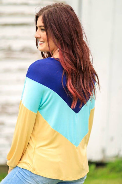 Look My Way Color Block Long Sleeve Top in Yellow - Filly Flair