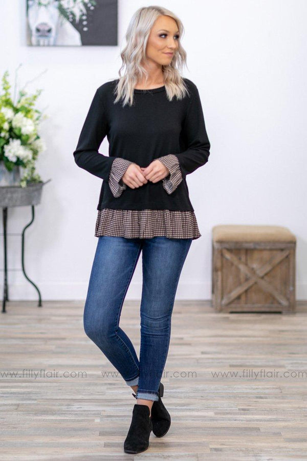 Take Me Back Long Sleeve Checkered Ruffle Hem Tie Back Top in Black - Filly Flair