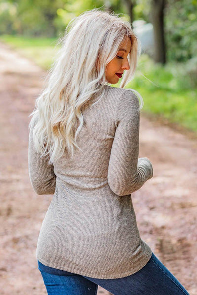 Take Me There Long Sleeve Top in Mocha - Filly Flair