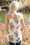 Tell Me Why Spaghetti Strap Floral Twist Front Tank Top in White - Filly Flair