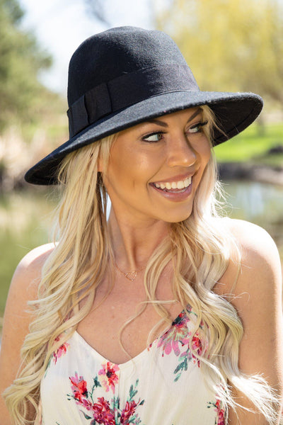 Simply Classic Wool Felt Straight Brim Hat in Black - Filly Flair