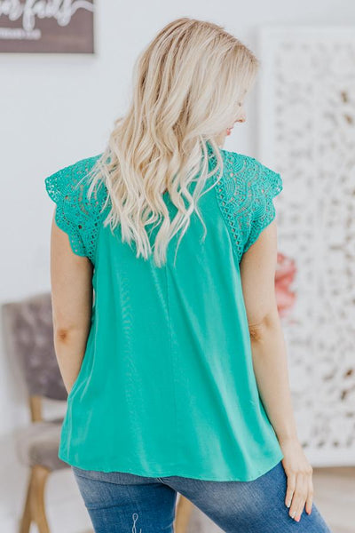 When We First Met Cap Sleeve Crochet Lace Top in Jade - Filly Flair