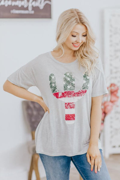 Arizona Moments Cactus Graphic Short Sleeve Top in Grey - Filly Flair