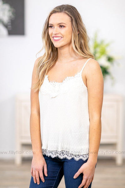 Looking For Reasons Ribbed Lace Layered Tank Top in Ivory - Filly Flair