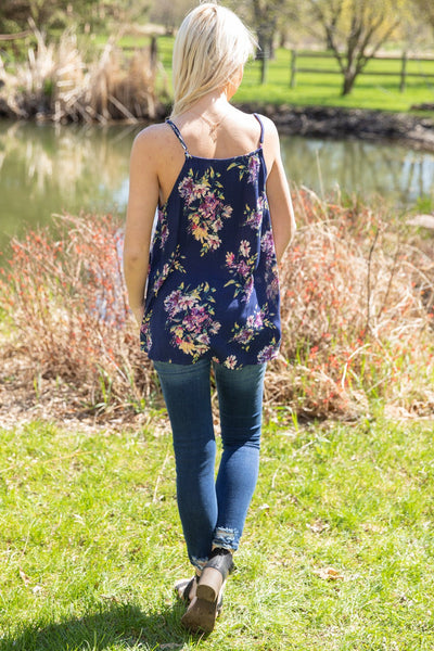Tell Me Why Spaghetti Strap Floral Twist Front Tank Top in Navy - Filly Flair