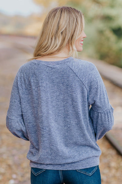 "The ""Game Day"" Puffy Long Sleeve Top in Heather Navy - Filly Flair"