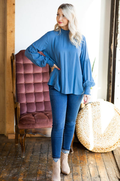 Tender Affection Long Sleeve Top In Denim - Filly Flair