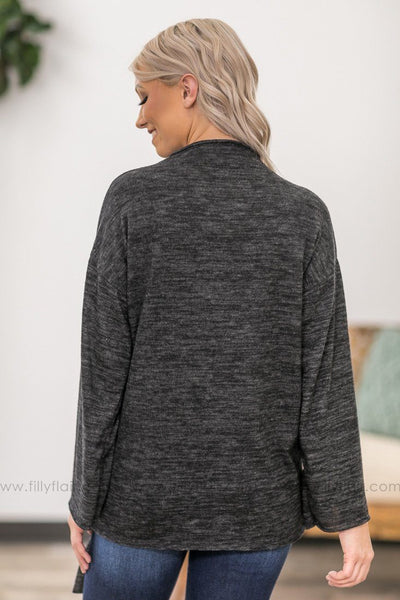 Said And Done Long Sleeve Long Bell Sleeve Knotted Tie Top in Charcoal - Filly Flair