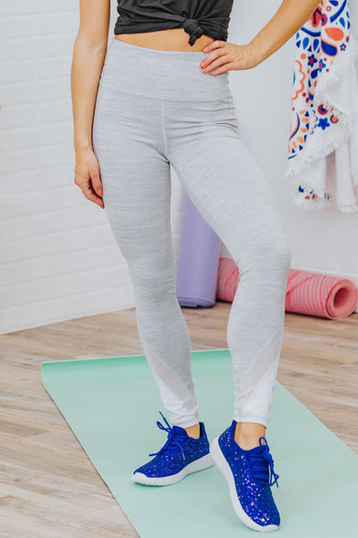 Side Swiped Four-Way Stretch Leggings in Melange - Filly Flair