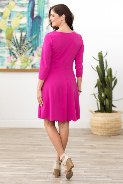 Fine as Ever 3/4 Sleeve Scalloped Dress in Hot Pink - Filly Flair