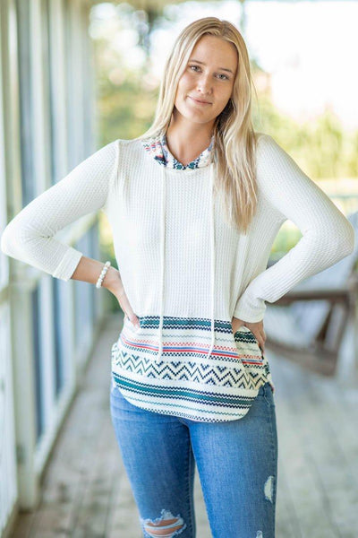 Know How To Act Waffle Printed Long Sleeve Hooded Top in White - Filly Flair