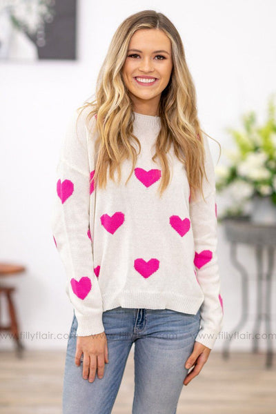 This Love Long Sleeve Pink Heart Sweater in Ivory - Filly Flair