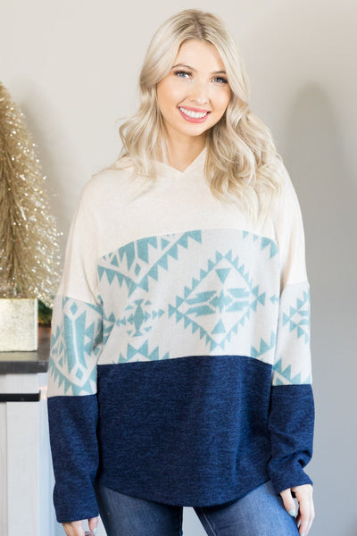 Making My Own Way Color Block Long Sleeve Top in Navy - Filly Flair