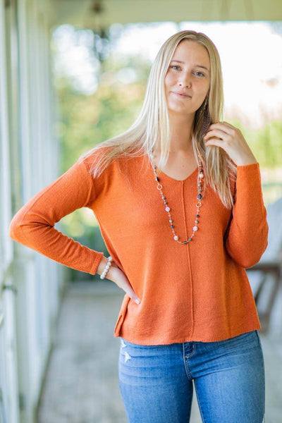 Wanting To Stay Long Sleeve Sweater in Rust - Filly Flair