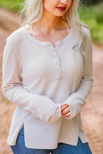 Typical Rules Waffle Long Sleeve 1/2 Button Down Top in Oatmeal - Filly Flair