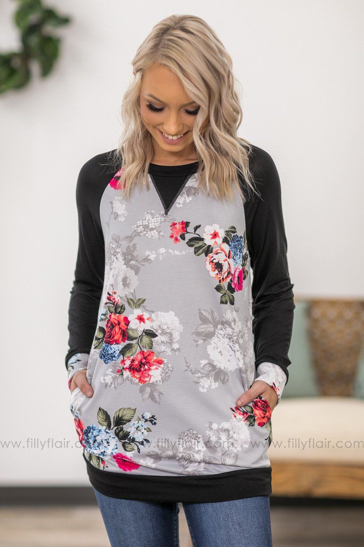 Love is A Wild Thing Long Black Sleeve Floral Tunic in Grey - Filly Flair
