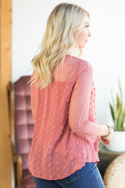 Fill Your Closet Lace And Crochet Blouse In Dark Mauve - Filly Flair