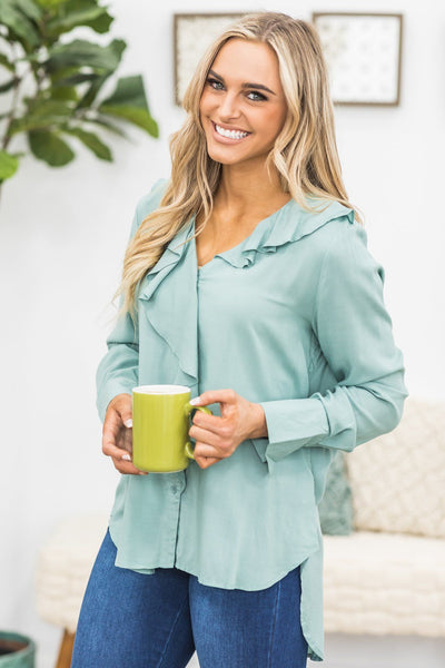 Make Sacrifices Cascade Ruffle Long Sleeve Blouse In Sage - Filly Flair
