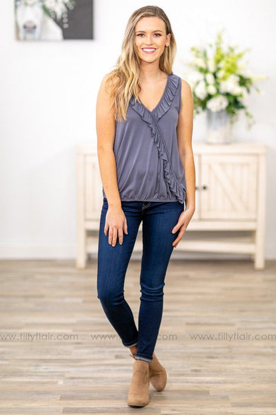 Fall For Me Sleeveless Ruffle Top in Slate Grey - Filly Flair