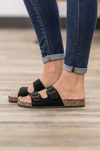 Draw You In Double Strap Sandals in Black - Filly Flair