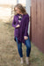 Yours Forever One Button Long Sleeve Cardigan in Eggplant